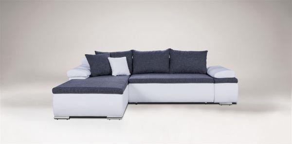 Couchgarnitur Camilla L-Form Kuntleder Weiss / Stoff Grau