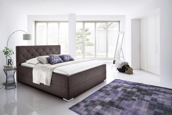 Polsterbett Bett Doppelbett - TULSA-140x200 cm im Stoffbezug Braun