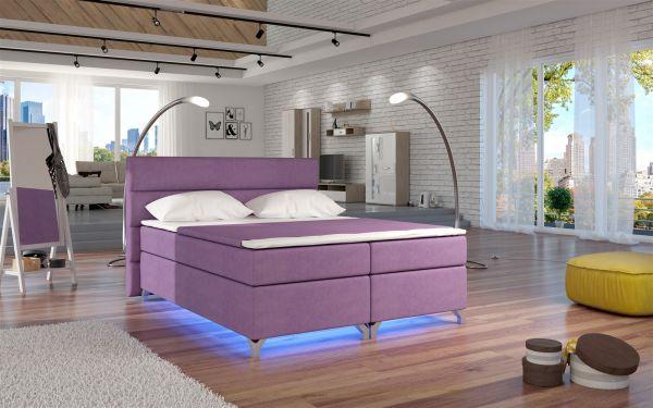 Boxspringbett Schlafzimmerbett NEAPEL Microfaser Pink 160x200cm