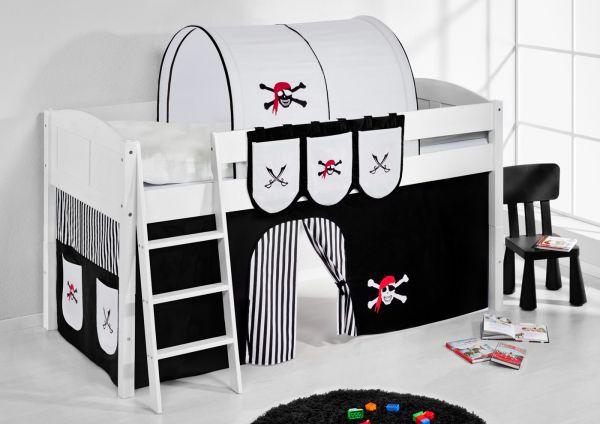 Spielbett Bett -LANDI - Pirat Schwarz -Teilbar-Kiefer Weiss-mit Vorhang