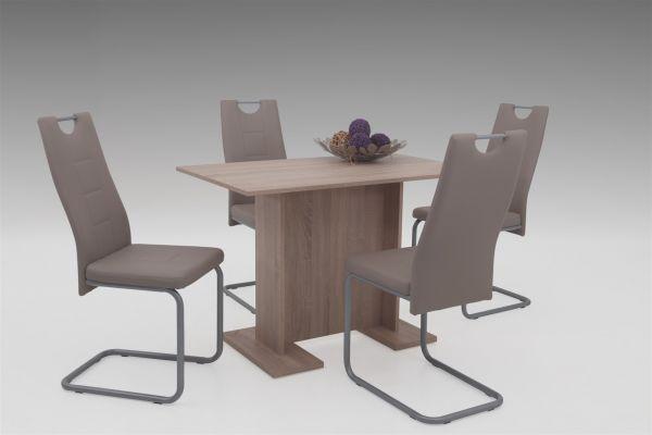 Tischgruppe LUKA 5-teilige Essgruppe - Sonoma Eiche / Cappuccino