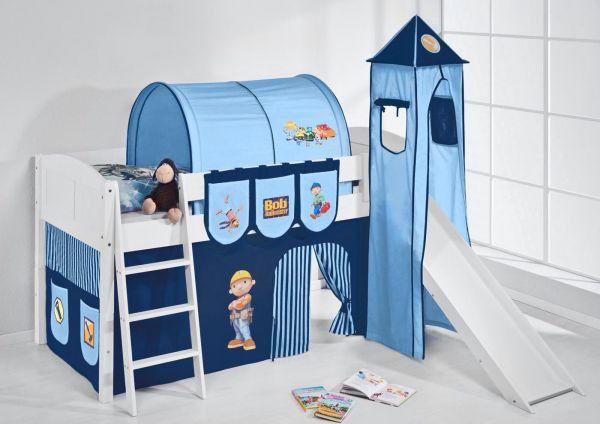 Spielbett mit Rutsche,Turm, Vorhang -LANDI/S - Bob - Kiefer Weiss
