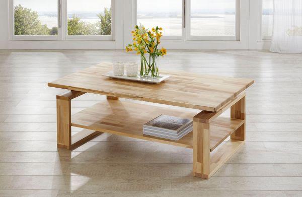 Couchtisch Tisch ALEX Eiche vollmassiv / Echtholz 120 x 80 cm