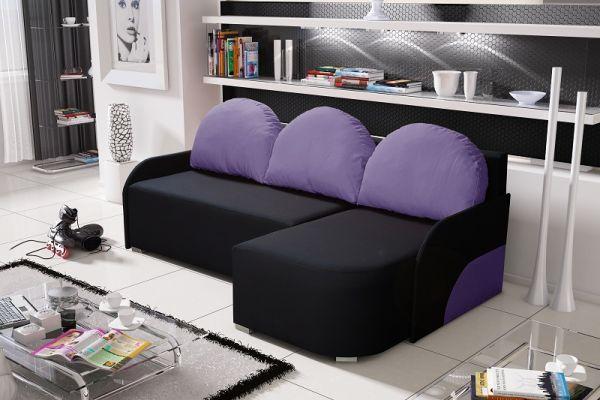 Ecksofa Sofa CANDY mit Schlaffunktion Ottomane Rechts Schwarz/ Violett