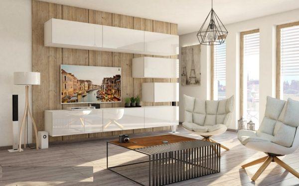 Mediawand Wohnwand 8 tlg - Konzept 38 - Weiß Hochglanz