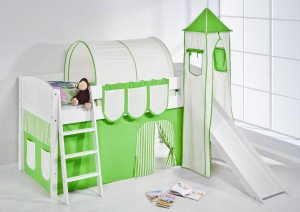 Spielbett mit Rutsche,Turm, Vorhang -LANDI/S -Grün Beige -Kiefer Weiss