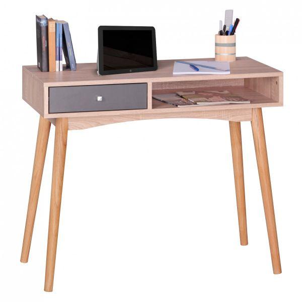 Konsole Sekretär Schreibtisch - Belimo - 90x78x45 cm Sonoma/Grau