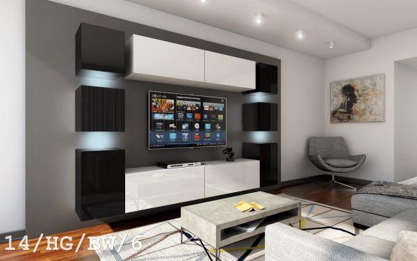 Mediawand Wohnwand 10 tlg - Konzept 40 Nr.3 - Weiß / Schwarz Hochglanz