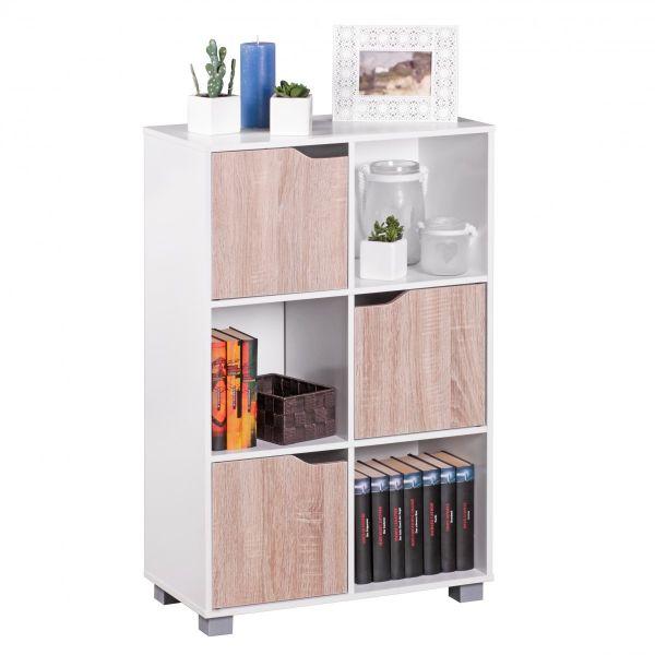 Bücherregal - BENO XS - Weiß mit Türen Sonoma Eiche Standregal