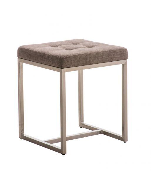 Sitzhocker - BRIT - Schminkhocker Hocker Sessel Stoff Grau 40x40cm