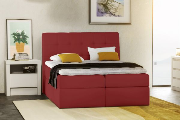 boxspringbett schlafzimmerbett turin kunstleder rot 100x200 cm fun m bel. Black Bedroom Furniture Sets. Home Design Ideas
