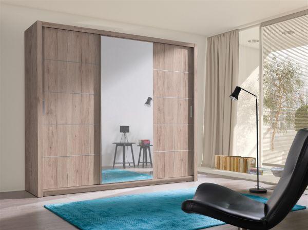 Schiebetürenschrank Schrank OSLO Sanremo matt + Spiegel 250x215 cm