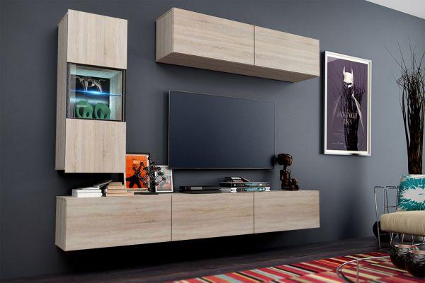 Mediawand Wohnwand 6 tlg - Konzept 12 - Sonoma matt mit LED-Beleuchung