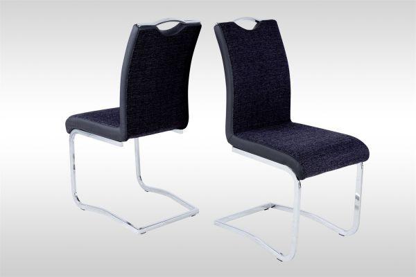 Esszimmerstühle Stühle Freischwinger 4er Set FERIS Webstoff Schwarz