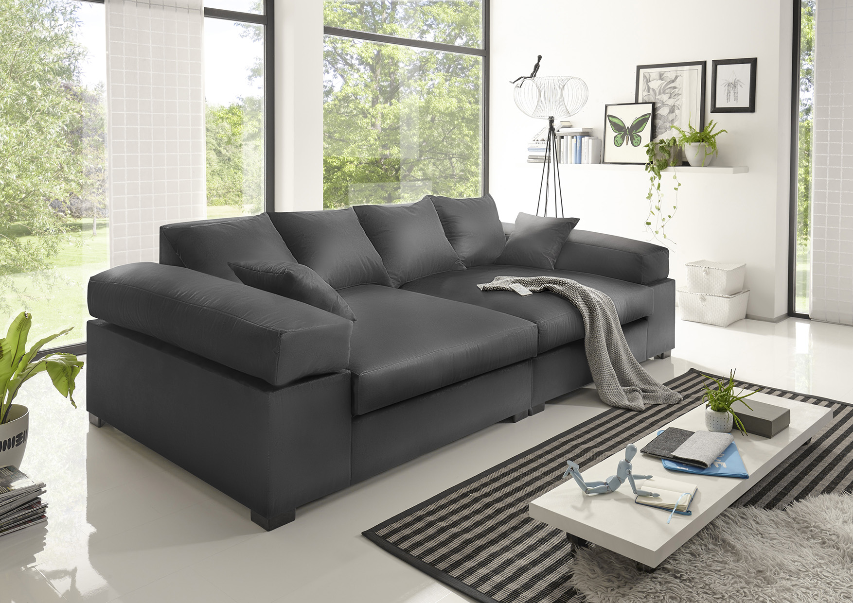 big sofa couchgarnitur megasofa riesensofa arezzo kunstleder anthrazit fun m bel. Black Bedroom Furniture Sets. Home Design Ideas