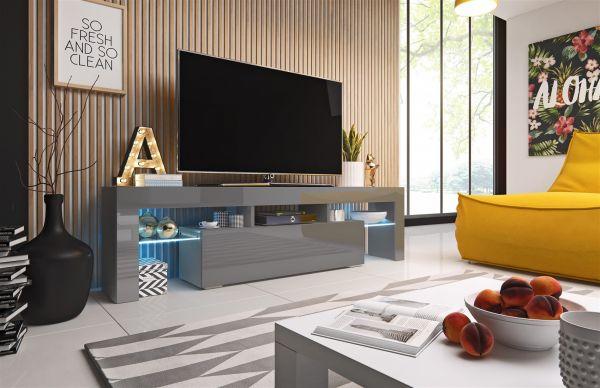 TV Board Lowboard TORIS Grau Hochglanz 158cm