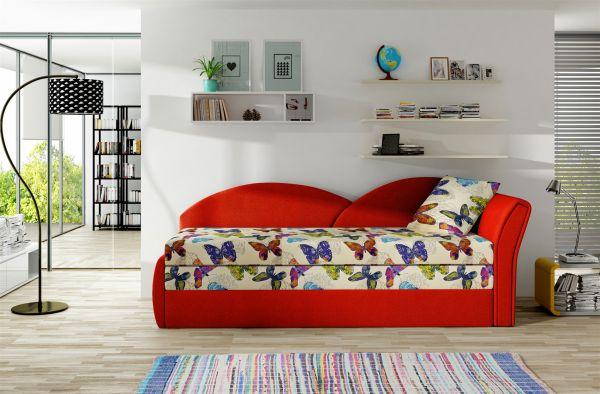 Sofa Schlafsofa inklusive Bettkasten ALINA / R - Rot / Muster