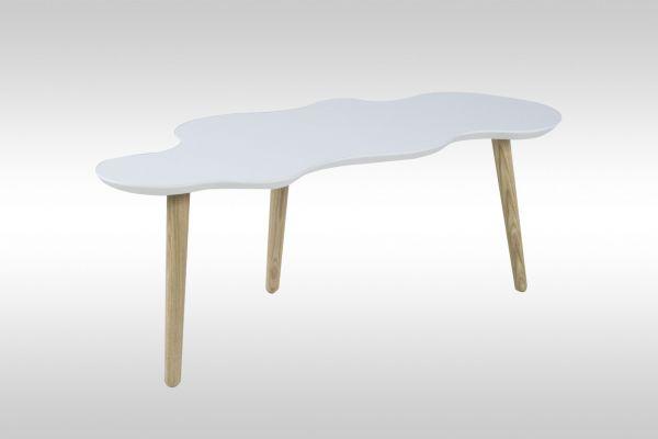 Couchtisch Tisch - OTTAWA -117 x 50 cm MDF / Massivholz Weiss
