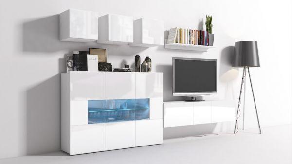 Mediawand Wohnwand 8 tlg - Konzept 7 - Weiss HGL mit LED-Beleuchtung