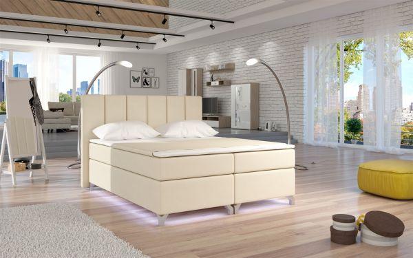 Boxspringbett Schlafzimmerbett PARMA Kunstleder Beige 160x200cm