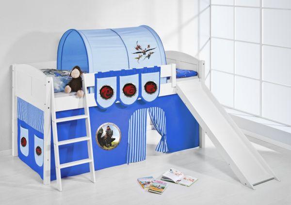 Spielbett mit Rutsche -LANDI/R -Dragons Blau -Kiefer Weiss-mit Vorhang