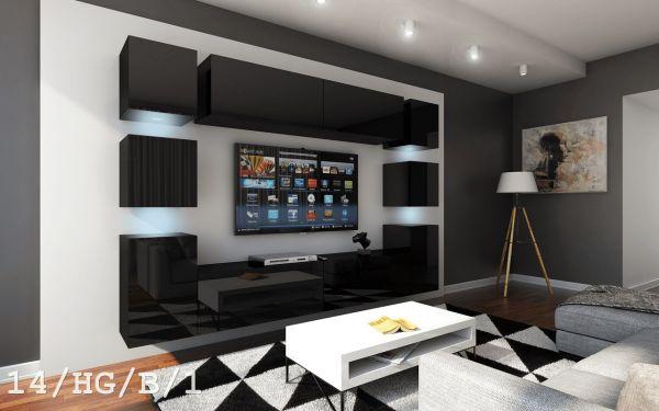 Mediawand Wohnwand 10 tlg - Konzept 40 - Schwarz Hochglanz