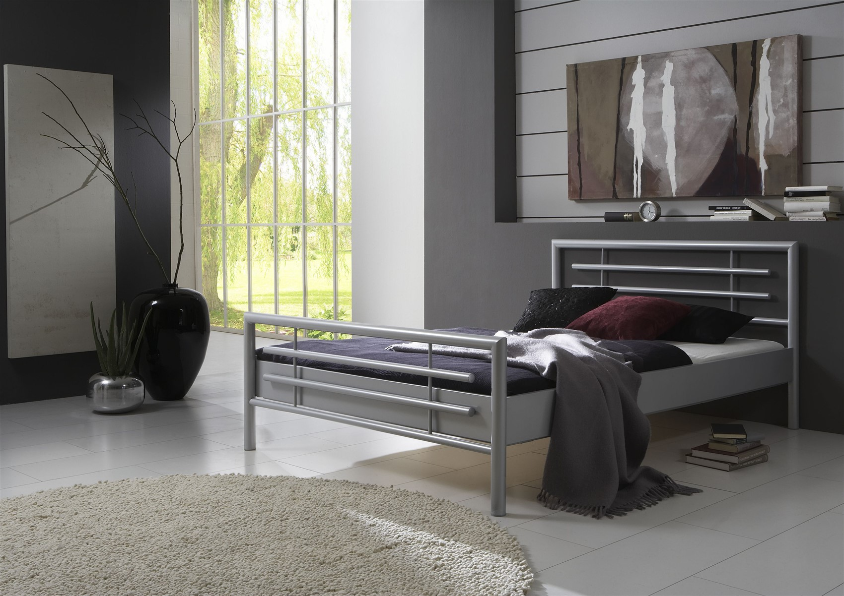 metallbett doppelbett bett steel silber lackiert 200x200 cm fun m bel. Black Bedroom Furniture Sets. Home Design Ideas