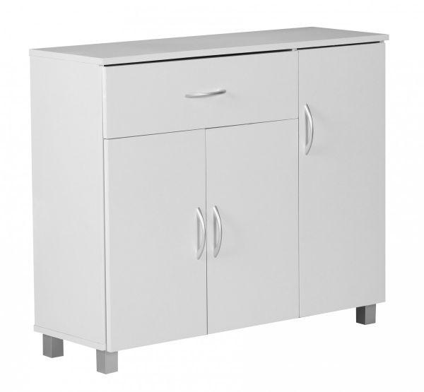 Kommode Sideboard - AMIRA - Weiss 90 x 75 cm mit 3 Türen + 1 Schublade