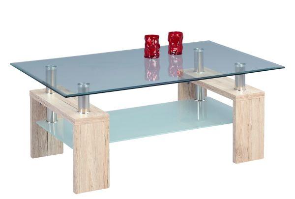 Couchtisch Tisch - Arno -110x70 cm Sanremo Eiche Sand / Glas