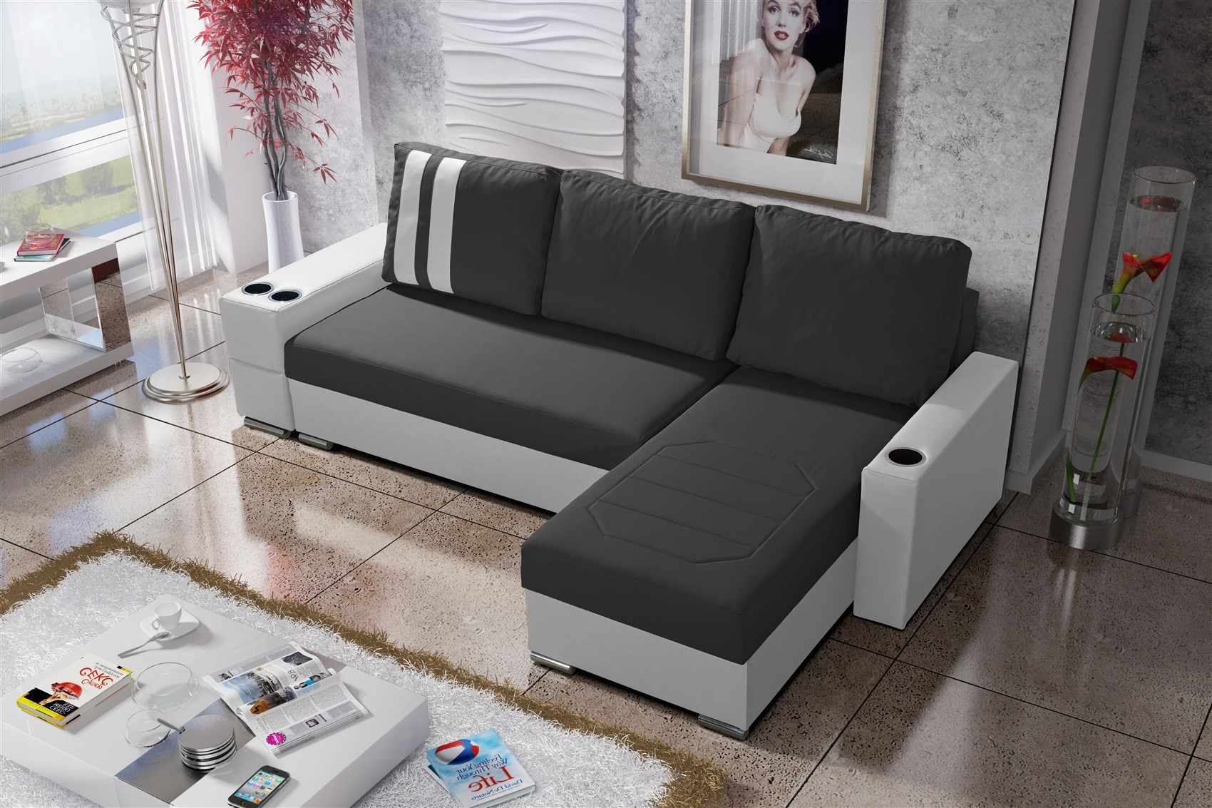 ecksofa sofa knox xl mit schlaffunktion weiss dunkelgrau otto rechts fun m bel. Black Bedroom Furniture Sets. Home Design Ideas