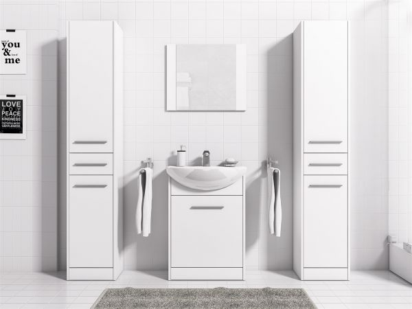 Badmöbel Set 5-Tlg Weiss matt SEVILLA XL inkl.Waschtisch