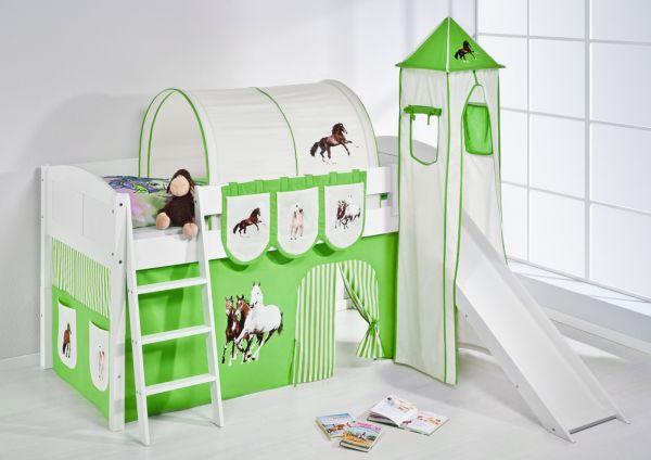 Spielbett mit Rutsche,Turm, Vorhang -LANDI/S -Pferde Grün-Kiefer Weiss