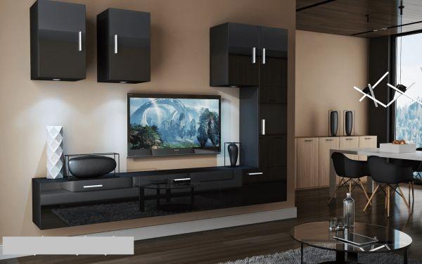 Mediawand Wohnwand 8 tlg - Bedox 4 - Schwarz Hochglanz inkl. LED
