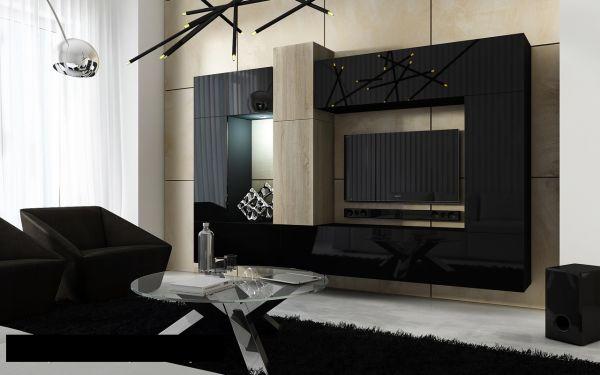 Mediawand Wohnwand 10 tlg - Konzept 22 - Schwarz HGL/ Sonoma matt