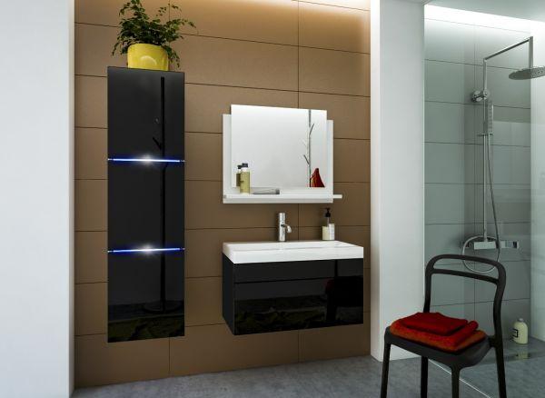 Badmöbel Set 4-Tlg Schwarz HGL DREAM XS inkl.60 cm Waschtisch und LED