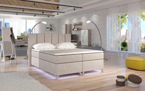 Boxspringbett Schlafzimmerbett PARMA Ökoleder Beige 180x200cm