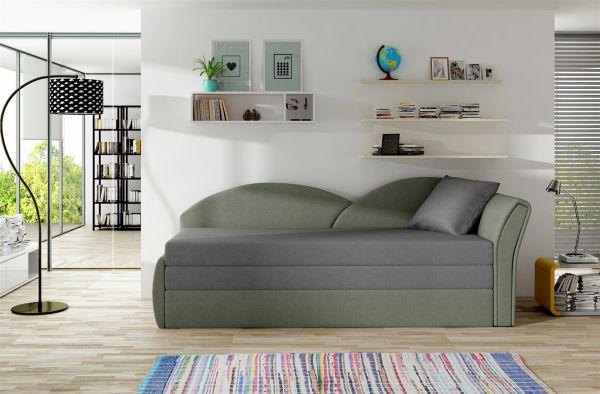 Sofa Schlafsofa inklusive Bettkasten ALINA / R - Hellgrau / Grau