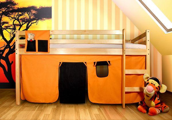 Vorhangset neues Design -Orange-Schwarz- für Hochbet Spielbett Etagenbett