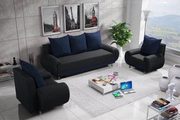 Sofa Set MIKA 3-1-1 Sofagarnitur in Polyesterstoff Anthrazit / Blau