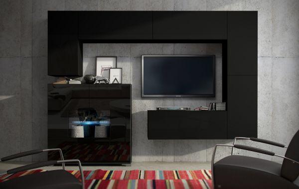 Mediawand Wohnwand 7 Tlg   Konzept 8  Schwarz Matt Mit LED Beleuchtung