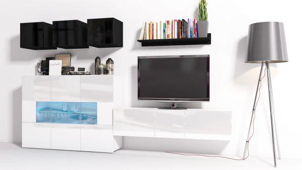 Mediawand Wohnwand 8 tlg - Konzept 7 - Weiss / Schwarz HGL + LED