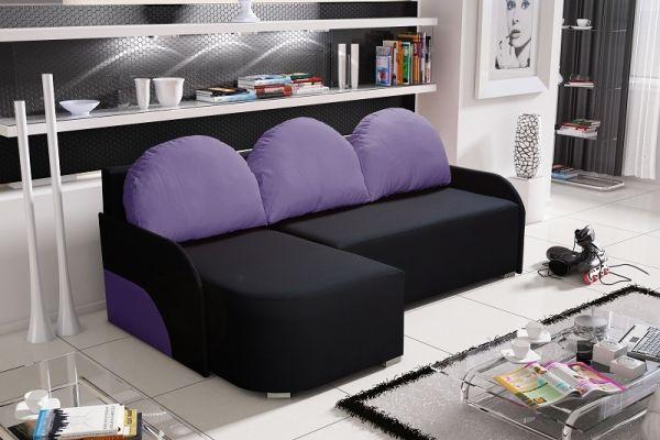 Ecksofa Sofa CANDY mit Schlaffunktion Ottomane Links Schwarz / Violett