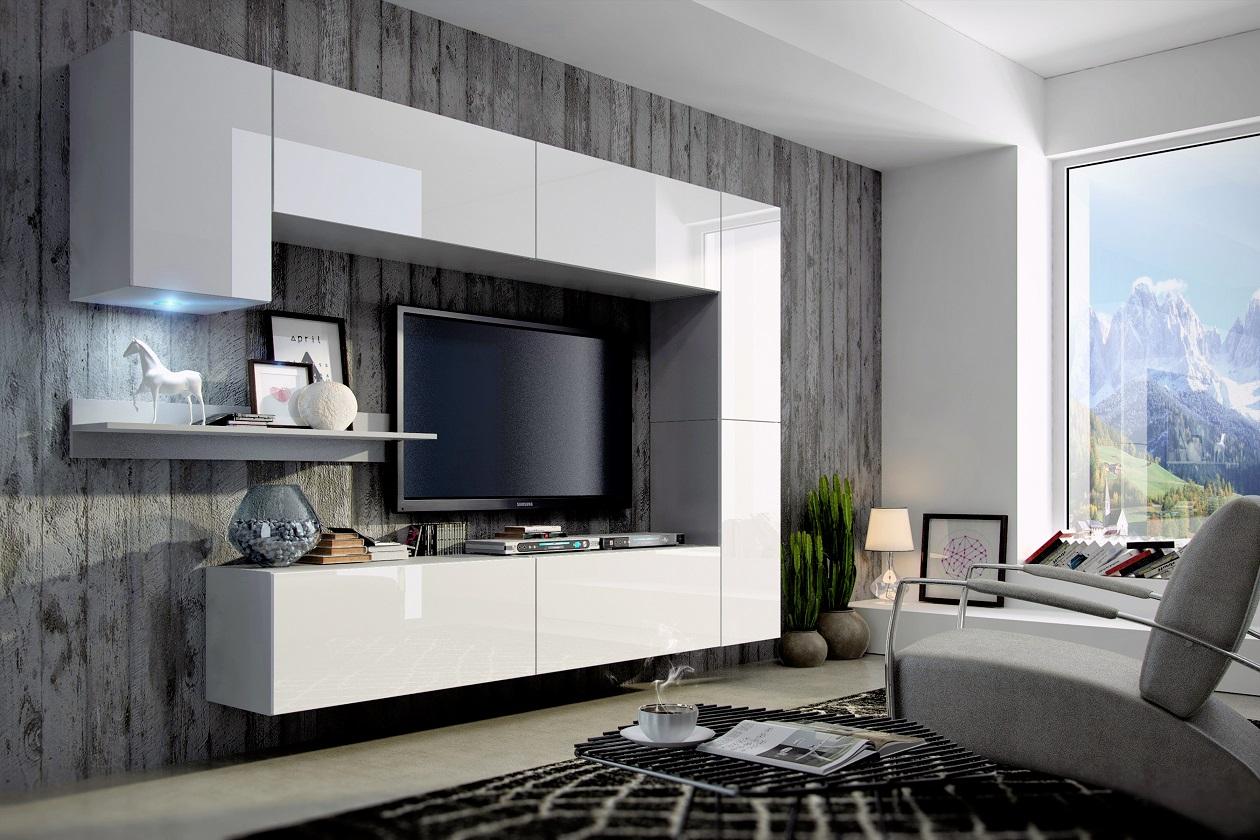 Mediawand Wohnwand 8 Tlg   Konzept 6   Weiss HGL Mit LED Beleuchtung |  Fun Möbel