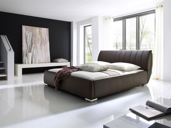 Polsterbett Bett -WIEN - 200x200cm inkl. Bettkasten+Lattenroste Braun