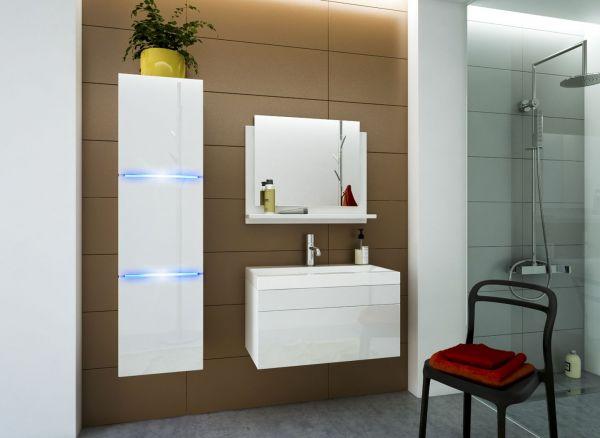 Badmöbel Set 4-Tlg Weiss HGL DREAM XS inkl.80 cm Waschtisch und LED