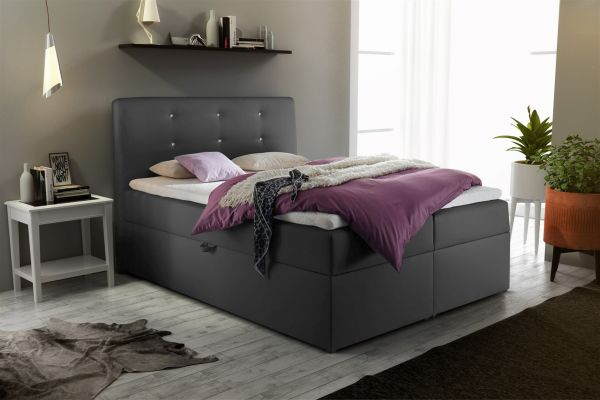 boxspringbett schlafzimmerbett monza kunstleder anthrazit. Black Bedroom Furniture Sets. Home Design Ideas