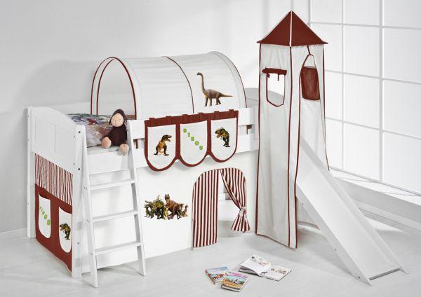 Spielbett mit Rutsche,Turm, Vorhang -LANDI/S -Dinos Braun-Kiefer Weiss