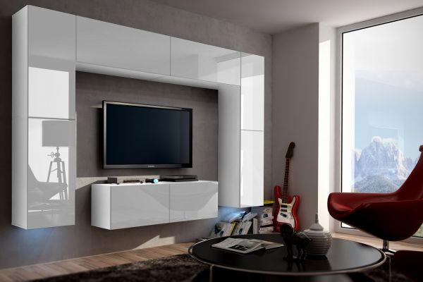 Mediawand Wohnwand 8 tlg - Konzept 3 - Weiss Hochglanz