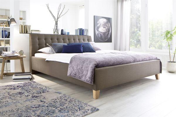Polsterbett Bett Doppelbett -DENNIS -140x200 cm Stoffbezug Braun/Beige