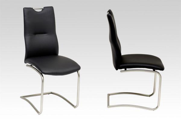 Esszimmerstühle Stühle Freischwinger 4er Set MAURI Kunstleder Schwarz